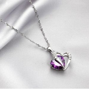 Jewelry - Sterling silver heart purple zircon necklace